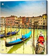 Gondolas In Venice - Italy  Acrylic Print