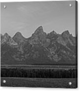 Grand Teton Mountain Range At Sunrise Panorama Acrylic Print