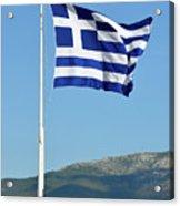 Greek Flag In Acropolis Of Athens Acrylic Print
