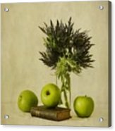 Green Apples And Blue Thistles Acrylic Print by Priska Wettstein