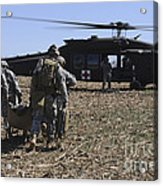 Green Berets Move A Simulated Casualty Acrylic Print