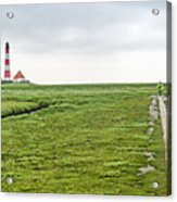 Green Fields And Romantic Lighthouse Acrylic Print
