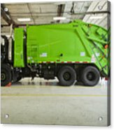 Green Garbage Truck Maintenance Acrylic Print by Don Mason