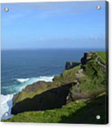 Green Grass On The Sea Cliff's In Ireland Acrylic Print