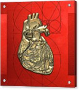 Heart Of Gold - Golden Human Heart On Red Canvas Acrylic Print