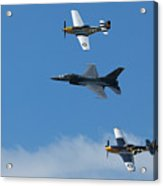 Heritage Flight, P-51 Mustang And F-16 Fighting Falcon Acrylic Print