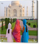 Hindu Women At The Taj Mahal Acrylic Print by Bill Bachmann - Printscapes