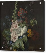 Hollyhocks And Other Flowers In A Vase Acrylic Print