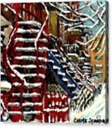 Escaliers De Montreal Ville De Verdun Best Original Montreal Paintings On Sale Peintures  Acrylic Print