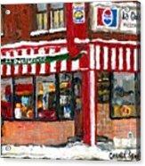 Original Montreal Paintings For Sale Peintures A Vendre Restaurant La Quebecoise Deli Acrylic Print