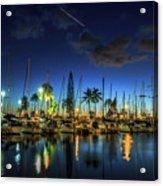 Honolulu Harbor By Night Acrylic Print