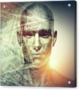 Human Man Face And Dollars Double Exposure. Acrylic Print