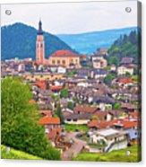 Idyllic Alpine Town Of Kastelruth On Green Hill View Acrylic Print