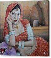 Indian Rajasthani Woman Acrylic Print