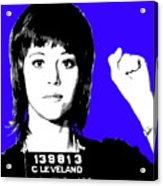 Jane Fonda Mug Shot - Blue Acrylic Print
