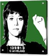 Jane Fonda Mug Shot - Green Acrylic Print