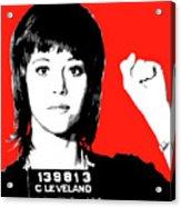 Jane Fonda Mug Shot - Red Acrylic Print