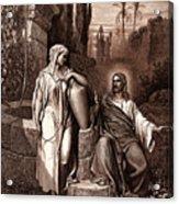 Jesus And The Woman Of Samaria Acrylic Print