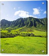 Kaaawa Valley And Kualoa Ranch Acrylic Print by Dana Edmunds - Printscapes