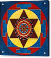 Kameshvari Yantra Blessings Sacred 3d High Relief Artistically Crafted Wooden Yantra  23in X 23in Acrylic Print