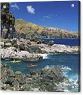 Kayaking Along Coastline Acrylic Print