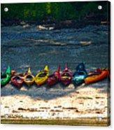 Kayaks In A Row Acrylic Print