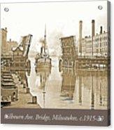 Kilbourn Avenue Bridge, Milwaukee, Wisconsin, 1915-1920, Vintage Acrylic Print