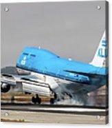 Klm Royal Dutch Airlines Boeing 747 Airplane Landing At San Francisco Airport In San Francisco, Cali Acrylic Print