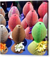 Ladies Collapsible Straw Hats At The Cove Marketplace At Port Ca Acrylic Print
