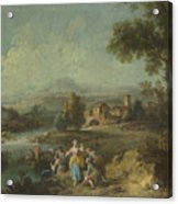 Landscape With A Group Of Figures Fishing Acrylic Print