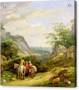 Landscape With Figures And Cattle Acrylic Print