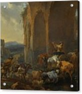 Landscape With Herdsmen Beneath Ruins Acrylic Print
