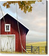 Large Red Barn With Bicycle In Field Of Wheat Acrylic Print