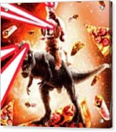 Laser Eyes Space Cat Riding Dog And Dinosaur Acrylic Print