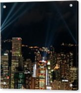 Laser Show Over City At Night Acrylic Print by Sami Sarkis
