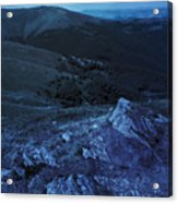 Light On Stone Mountain Slope With Forest At Night Acrylic Print