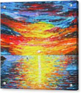 Lighthouse Sunset Ocean View Palette Knife Original Painting Acrylic Print