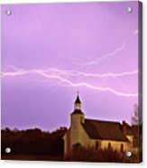 Lightning Bolts Over Spring Valley Country Church Acrylic Print