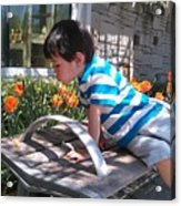 Little Boy And Flowers Acrylic Print