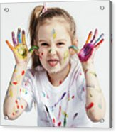 Little Girl Covered In Paint Making Funny Faces. Acrylic Print