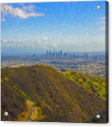 Los Angeles Ca Skyline Runyon Canyon Hiking Trail Acrylic Print