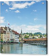 Lucerne Chapel Bridge And Water Tower - Panoramic Acrylic Print