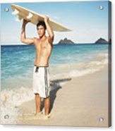 Man At The Beach With Surfboard Acrylic Print