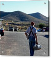 Man Walking With Newspapers Acrylic Print