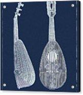 Mandolin Blue Musical Instrument Acrylic Print