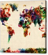 Map Of The World Map Abstract Painting Acrylic Print by Michael Tompsett