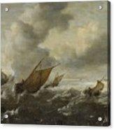 Maritime Scene With Stormy Seas Acrylic Print