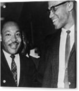 Martin Luther King Jr., And Malcolm X Acrylic Print by Everett