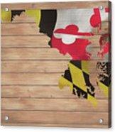 Maryland Rustic Map On Wood Acrylic Print