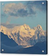 Massive Snow Caped Mountains In The Countryside Of Italy  Acrylic Print